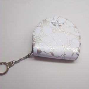 Kate Spade Sari Breezy Floral Silver Zip Key Fob
